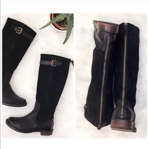 UGG Black Leather Suede Tall Boots